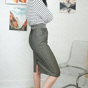 Vintage Melrose silver printed pencil skirt